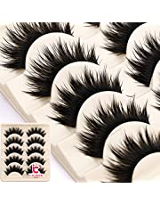 ICYCHEER Thick 5 Pairs Makeup Natural False Eyelashes Eye Lash Long Black Handmade Soft