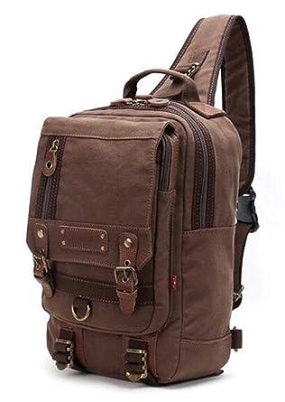 Amazon.com | Simplebiz Canvas Leather Backpack Men Single Strap ...
