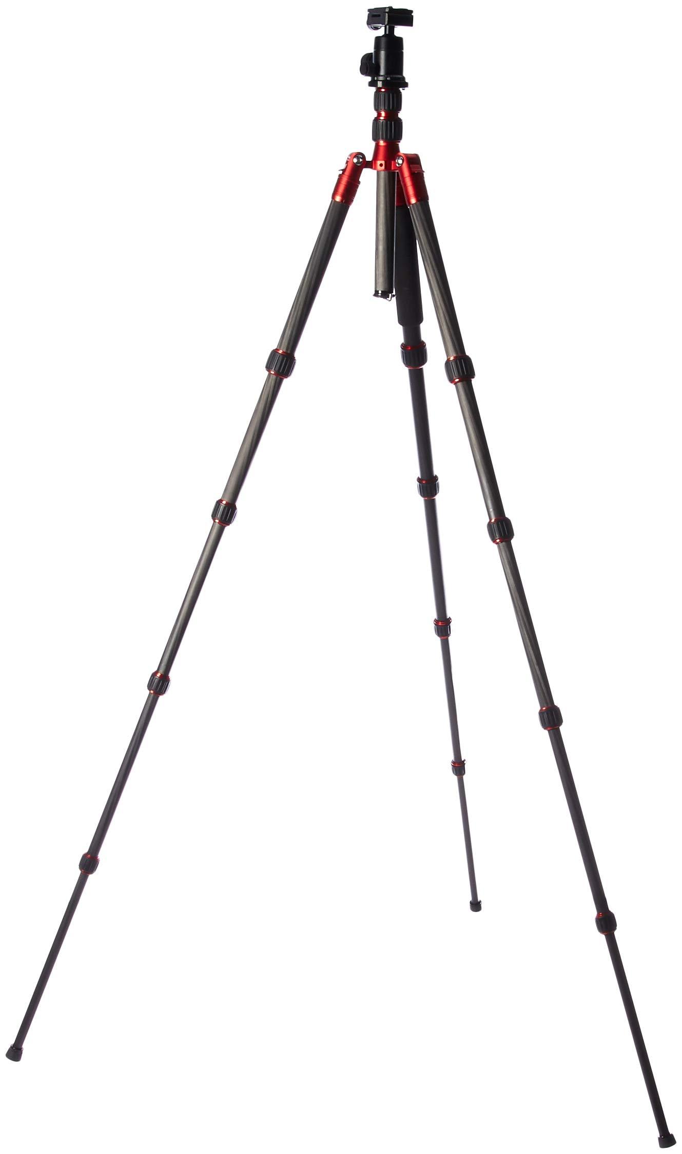 TERRA FIRMA TRIPODS T-CF500-BH200 Carbon Fiber 5 Section Tripod Leg Set with Ball Head BH200, Black/Red by TERRA FIRMA TRIPODS (Image #2)