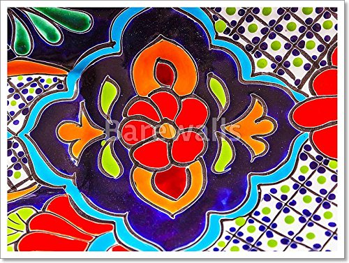 Colorful Ceramic Red Blue Flowers Pot Dolores Hidalgo Mexico Paper Print Wall Art Paper Print Wall Art (18in. x (Hidalgo Flower)