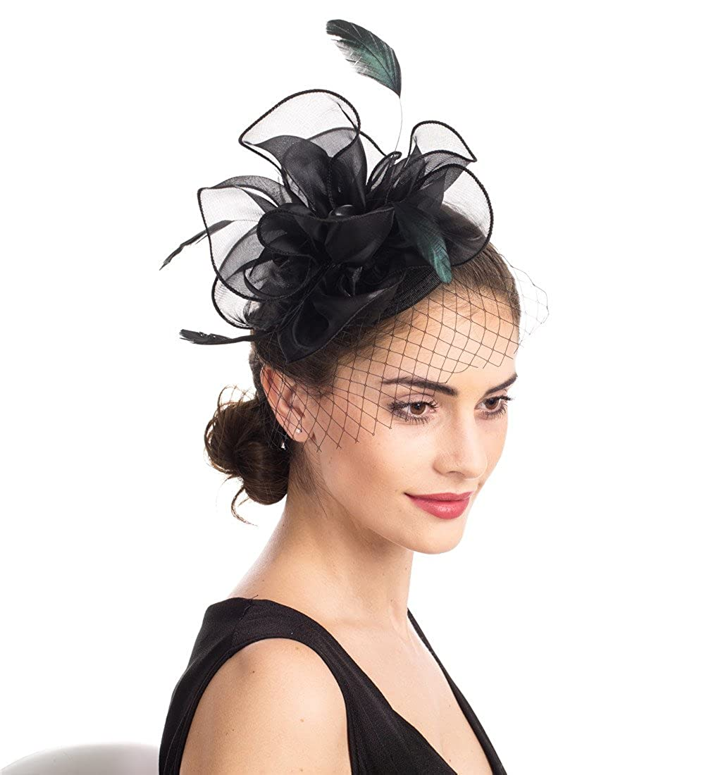 SAFERIN Fascinators Hat Black Flower Mesh Feathers on a Headband and a Clip  Tea Party Headwear for Girls and Women (TA2-Floral Mesh Black) at Amazon  Women s ... 9bbf86bc257