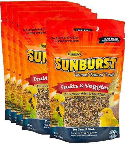 Higgins Sunburst Fruits & Veggies Gourmet Treats for Small Birds, 3 oz. - Pack of ()