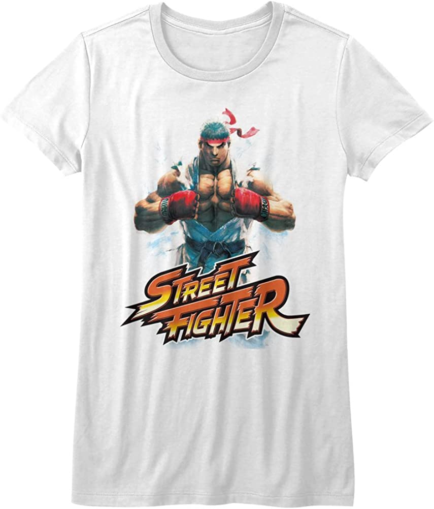 Amazon Com Street Fighter Video Martial Arts Arcade Game Ryu Logo Juniors T Shirt Tee Clothing