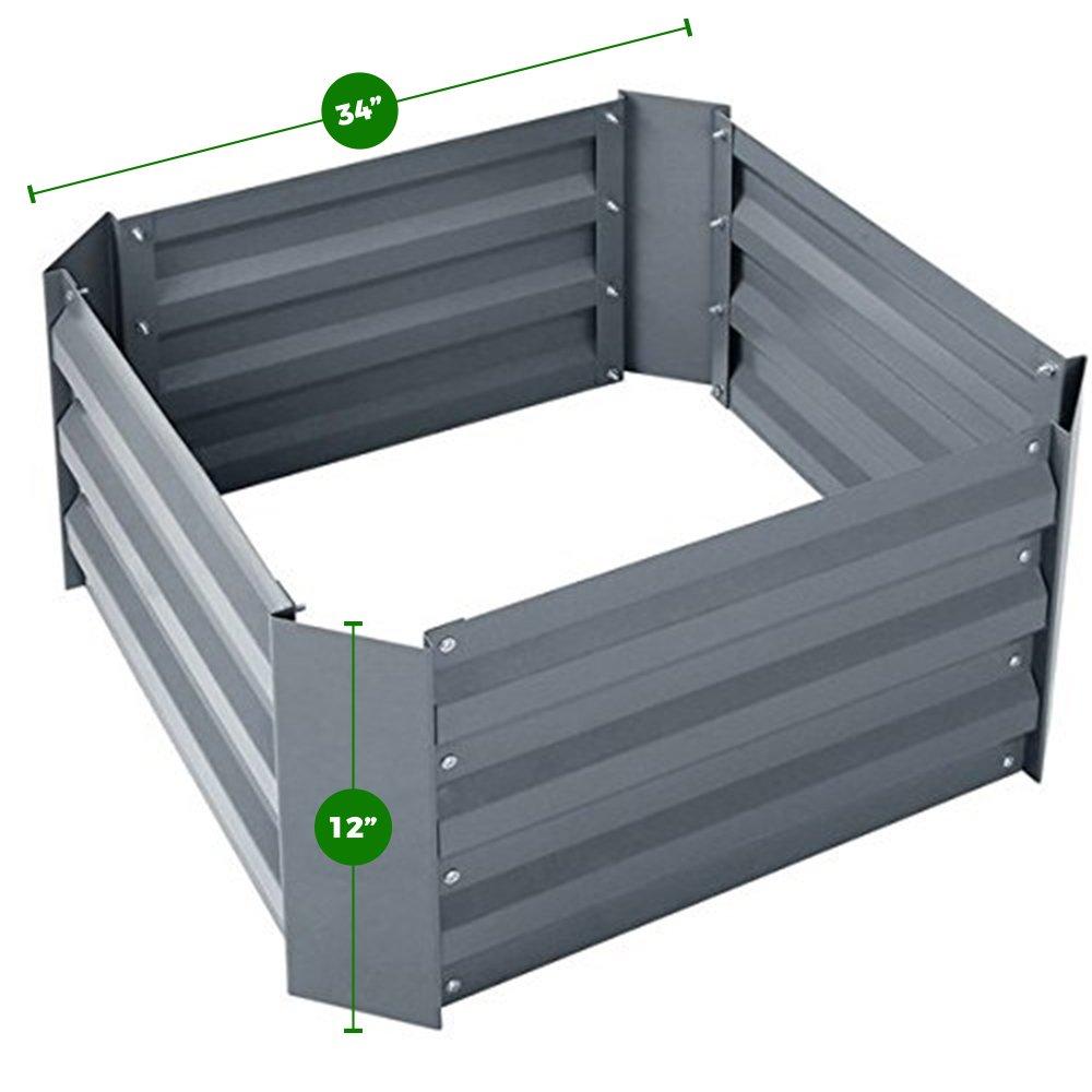 Steel Raised Garden Bed Kit (34'' Square, 12'' Deep, White)
