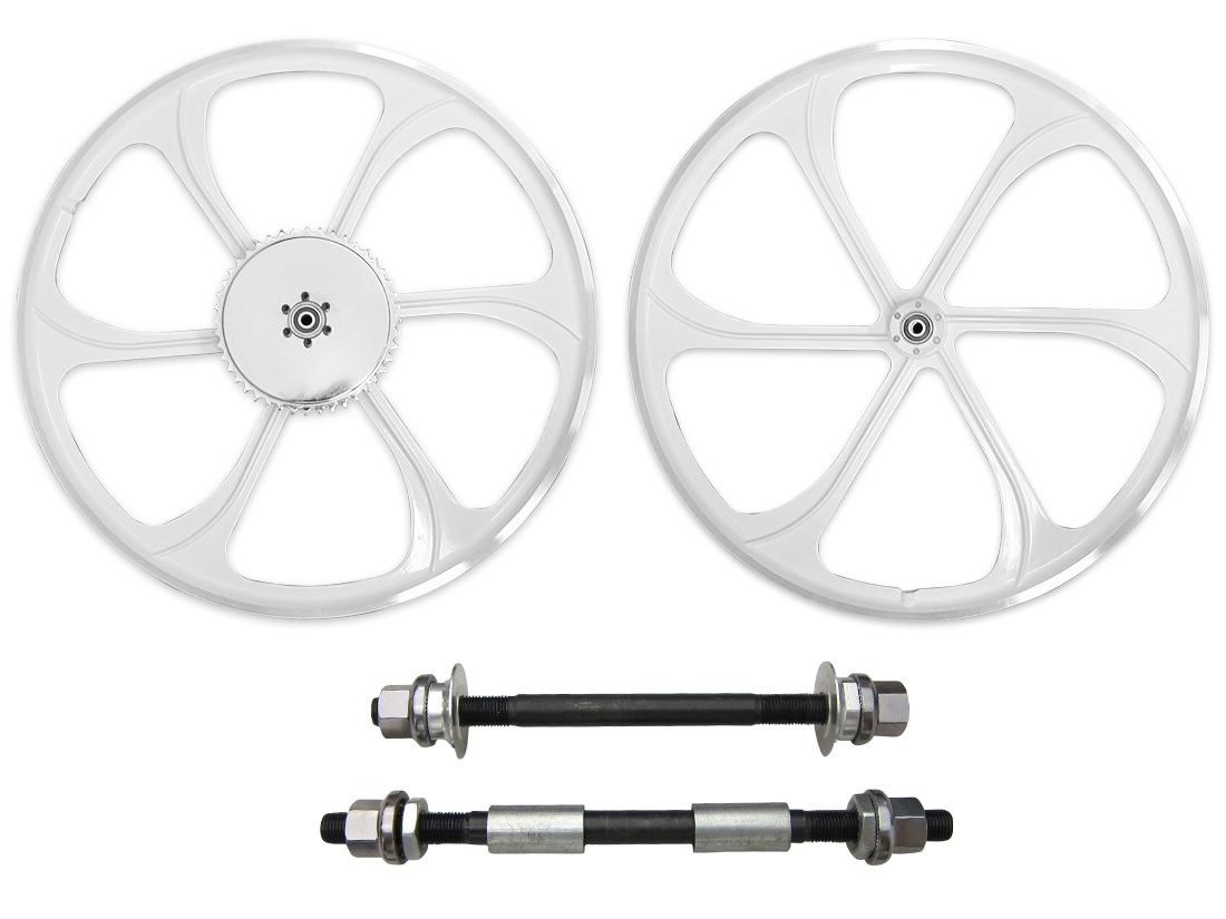 BBR Tuning 26 Inch Heavy Duty Front Mag Wheel for Mountain Bikes, Beach Cruisers, Hybrid Bikes and Motorized Bicycles (White) by BBR Tuning