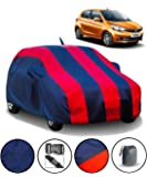 Fabtec Car Body Cover for Tata Tiago with Mirror Antenna Pocket Storage Bag (Red & Blue)