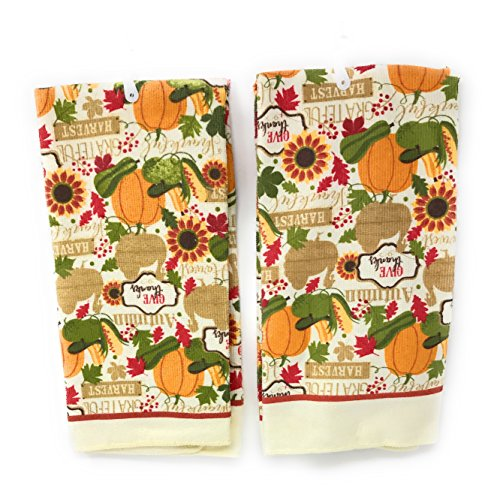 Home Collection 2 Piece Kitchen Microfiber Towel Set ~ Thanksgiving / Autumn Harvest (Give Thanks)
