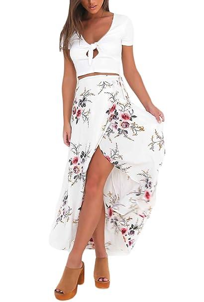 636713dda Faldas Largas Verano Mujer Elegantes Casual Vintage Flores Estampado ...