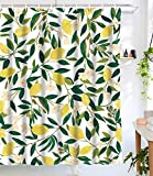 Lifeel Lemon Shower Curtains,Funny Fruit Design Fabric Summer Shower Curtain Set with 12 Hooks,Green White72'×72'