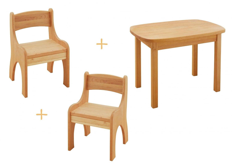 BioKinder 22812 Levin Spar-Set Kindertisch mit 2 Stühlen aus Massivholz Erle