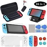 16 en 1 Kit de Accesorios para Nintendo Switch, Funda para Nintendo Switch, Funda Protectora de Silicona, Funda de Transparen