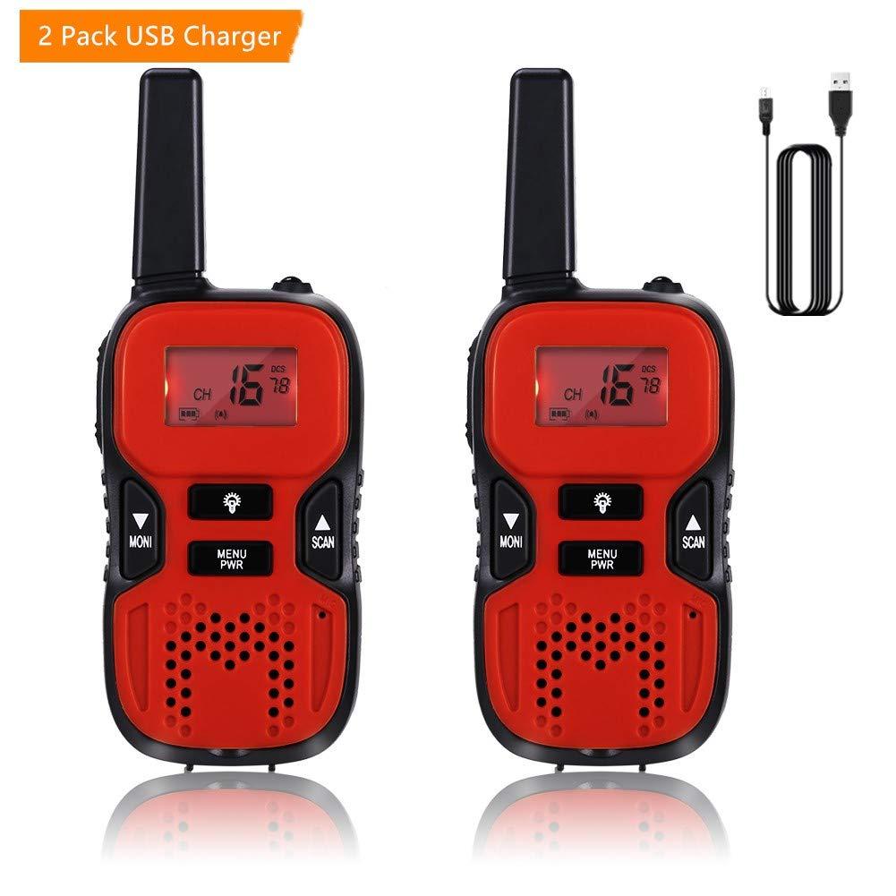 GHB Walkie Talkies for Kids, 22 Channel Walkie Talkies 2 Way Radio 3 Miles up to 5 Miles FRS/GMRS Handheld Mini Walkie Talkies for Kids (Pair) (Red)