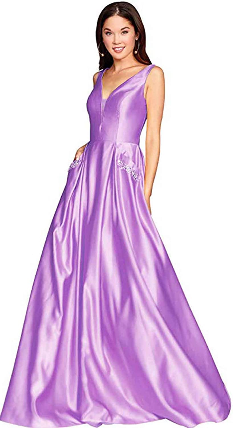 purplec Rmaytiked Womens V Neck Beaded Prom Dresses Long Satin A Line Formal Evening Ball Gowns with Pockets