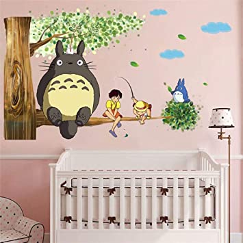 Amazon.com: Pegatina de pared Totoro 3D con dibujos animados ...