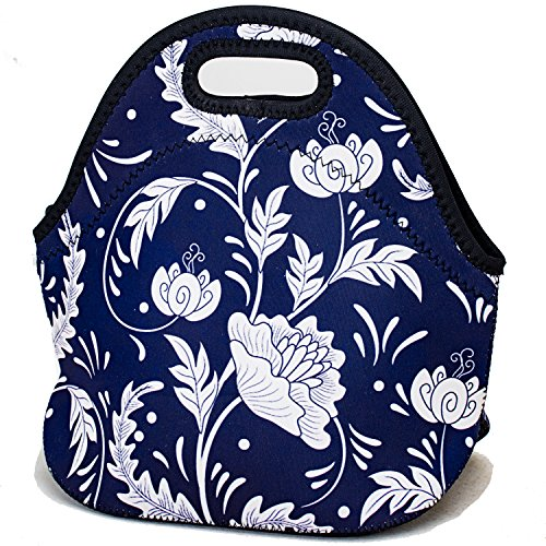 Blue Flower Curved - Insulated Lunch Bag Neoprene Lunch Bags for Women Men Cooler Lunch Box Tote - Blue Flower