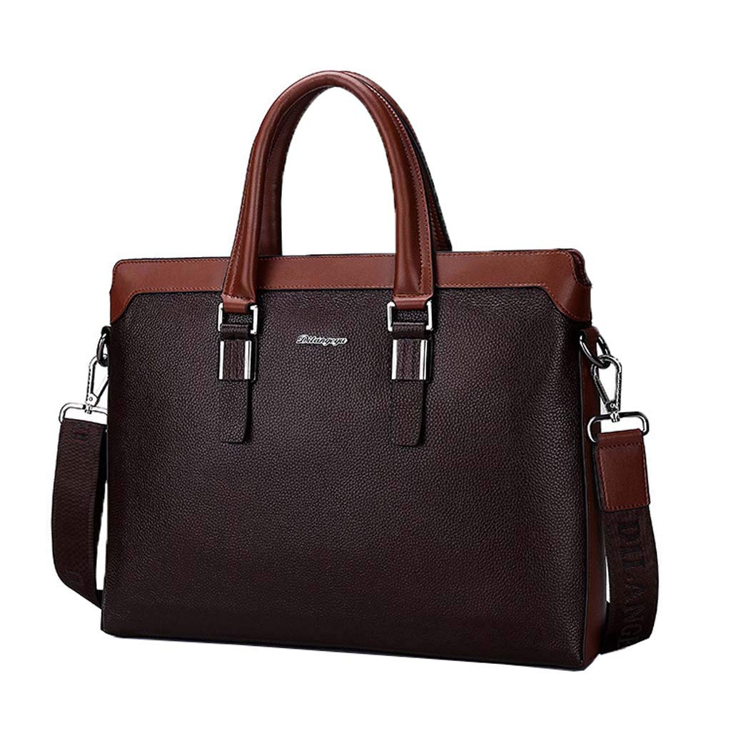 Cloud Mens Briefcase Shoulder Portable Diagonal Big Bag Business Casual Color : Brown, Size : 29cm