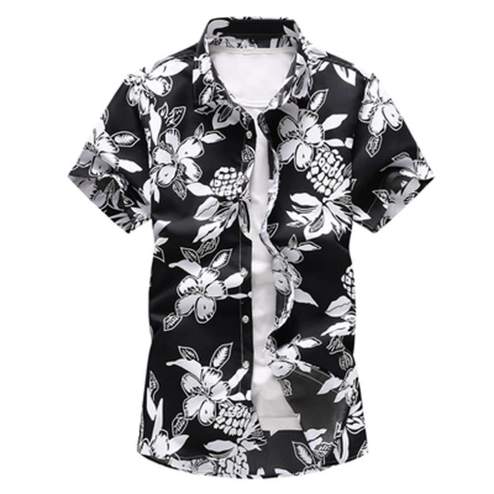 QHF Mens Hawaiian Printed Shirt Summer Beach Short Sleeve Shirts Holiday Party 6917-black,Asian-Size-XXL