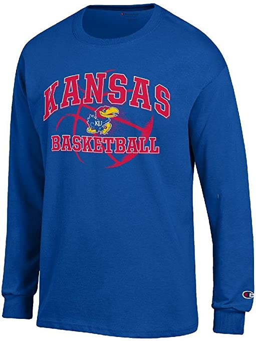 d96d6259cc6 Amazon.com   Kansas Jayhawks Royal Basketball Long Sleeve T Shirt by ...
