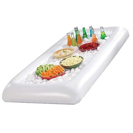 Bandeja hinchable para servir ensalada y hielo, contenedores ...