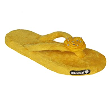1339f56c430 BlackCoal Women Room Slippers Girls Casual Bedroom Home Fur Flip Flops  WFC17 Yellow  Buy Online at Low Prices in India - Amazon.in