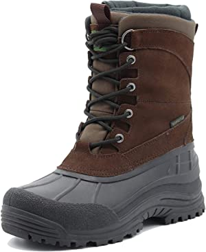 Men's Winter uggs are Waterproof, Non-Slip, Safe and Warm Outdoor Classic Suede, Detachable Lining, Non-Slip Rubber Outsole, mid-Calf Height Boots