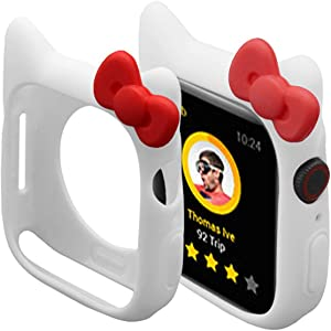 Cute Silicone Case Compatible for iWatch 40mm 44mm SE Series 6 Series 5 Series 4, Shock-Proof and Shatter-Resistant Protective Protective Case Compatible for Apple Watch 38mm 42mm Series 3 2 1 (White, 40mm)