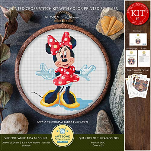 (Minnie Mouse #K259 Cross Stitch Kit | Cartoon Cross Stitch Patterns | Embroidery Kits | Needlepoint Kits | Counted Cross Stitch)