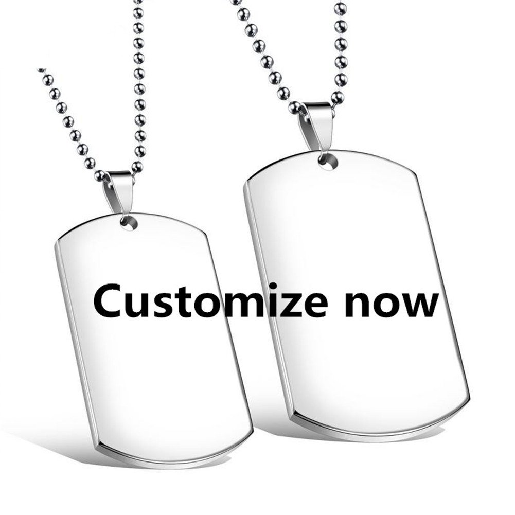 CF Free Engarving Custom Blank Dog Tag Military Necklace for Women Men Stainless Steel Couple Nameplate Message ID Pendant for Girlfriend,Boyfriend,Wife,Husband Best Valentine's Day Gift Jewelry