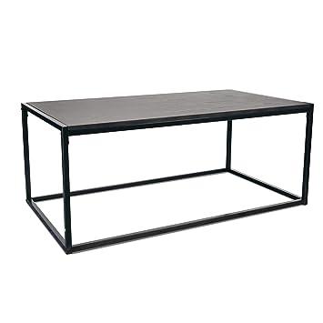 Port Housewares Contemporain Industriel Table Basse Noir Bois Cadre En Acier 110 X 60 X 46 Cm