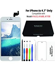 for iPhone 6s White (4.7 Inch) LCD Screen Replacement Display Touch Digitizer Assembly + Repair Tools, Compatible with Model A1633, A1688, A1700