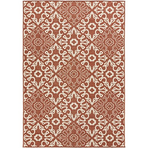 (Diva At Home 8.75' x 12.75' Majestic Medina Cayenne Pepper Red and Sandy Beige Shed-Free Area Throw Rug)