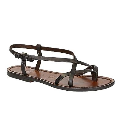 Size 9 US Handmade Womens Dark Brown Calf Leather Flat