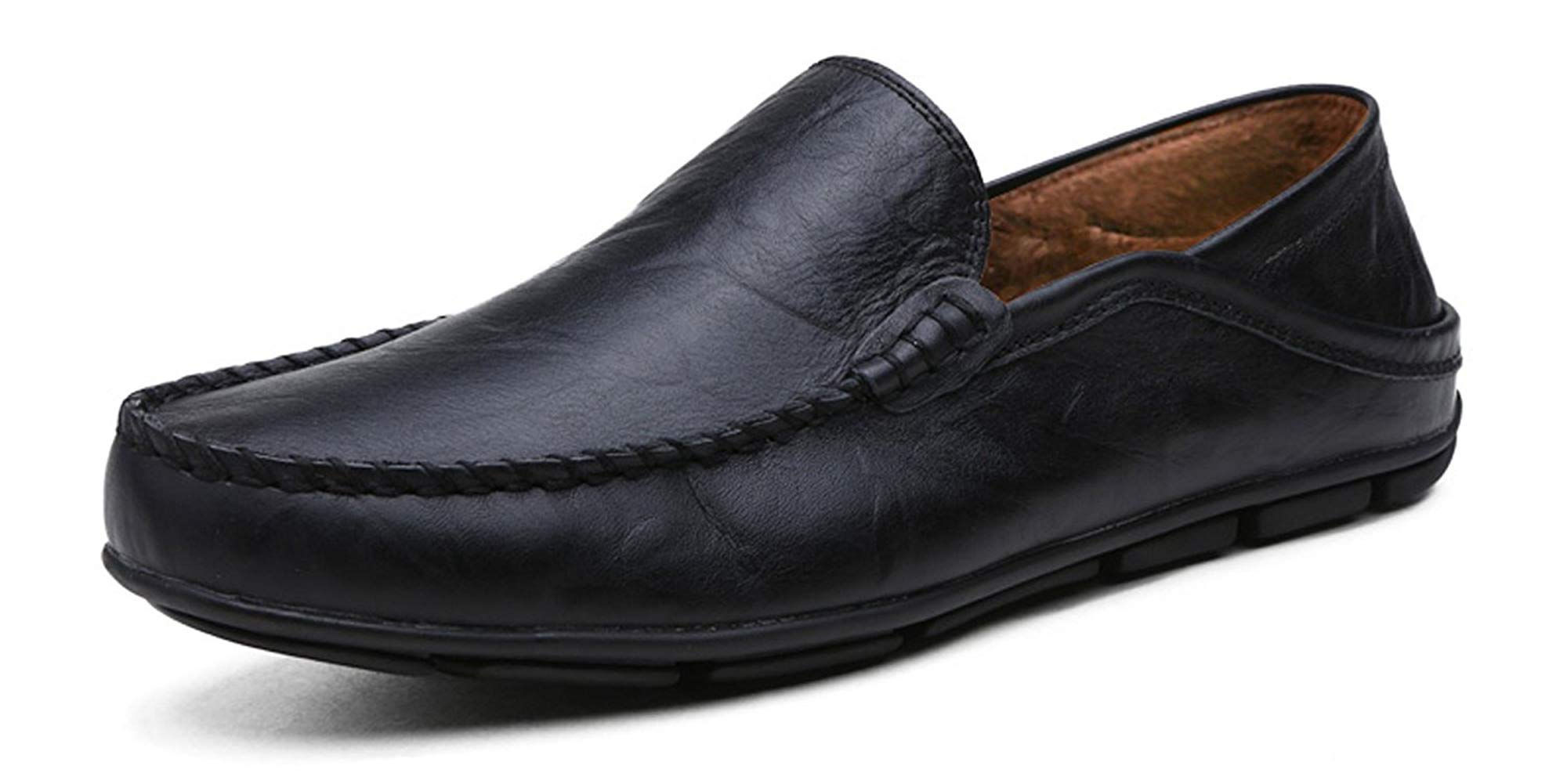Go Tour Men's Premium Genuine Leather Casual Slip On Loafers Breathable Driving Shoes Fashion Slipper Black Fur 42