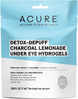 product image for Acure Detox-Depuff Charcoal Lemonade Under Eye Hydrogels | 100% Vegan | For Oily to Normal & Acne Prone Skin | Charcoal, Lemon & Cucumber - Detoxies & De-Puffs Under Eye Area | 2 Single Use | 1 Count
