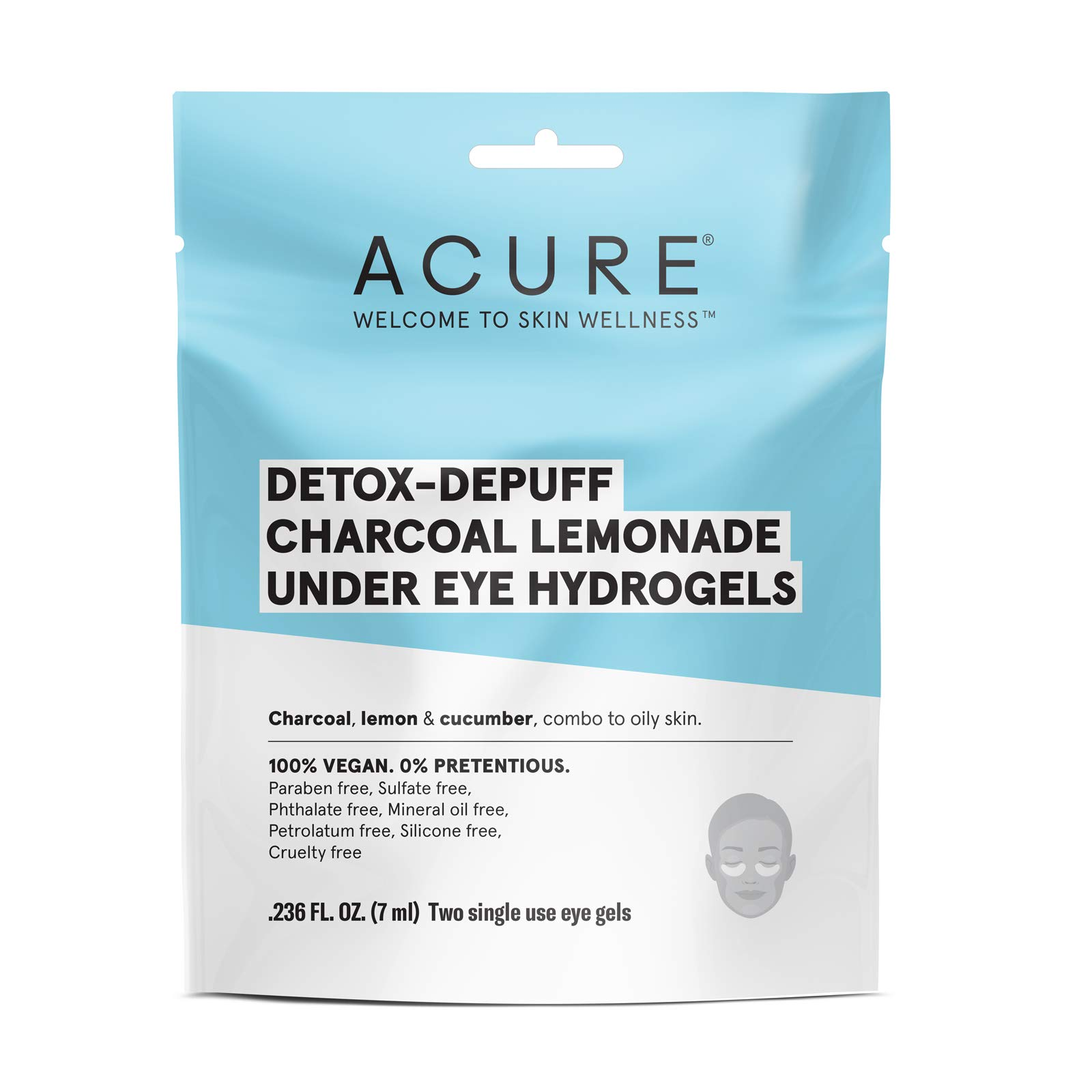 Acure Detox-Depuff Charcoal Lemonade Under Eye Hydrogels, 12 Count