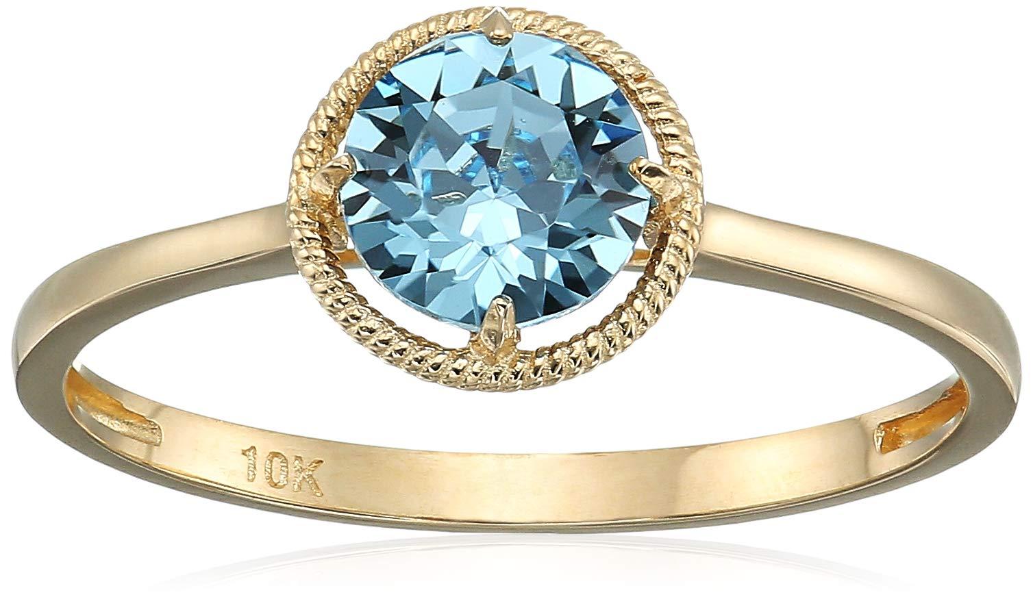 10k Gold Swarovski Crystal January Birthstone Ring, Size 8