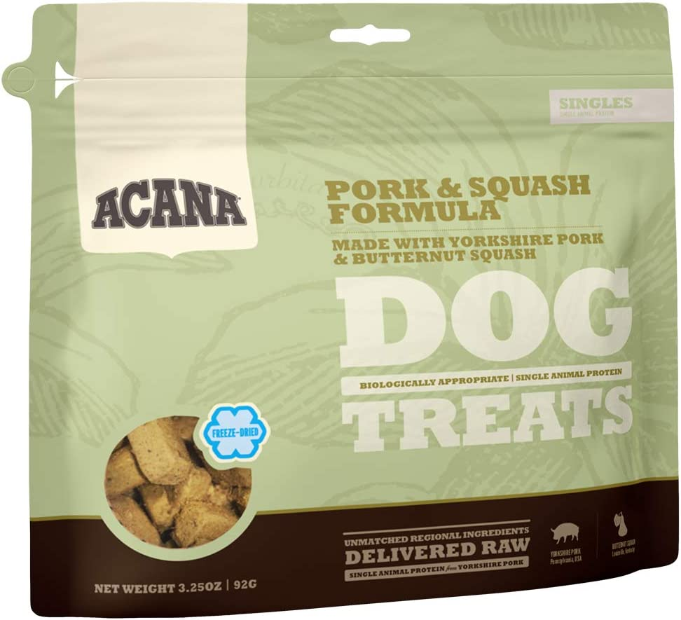 Acana Singles Grain Free Dog Treats, Limited Ingredients & Freeze-Dried, Made in USA, Pork & Squah, 3oz