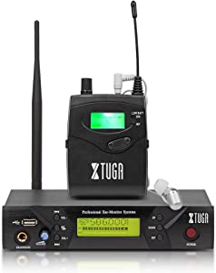 Xtuga BK510 Single Channel in Ear Monitor System UHF 100-Channel Wireless Professional in-Ear Monitor System USB and White Color Earbud Headphones