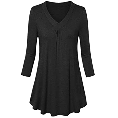 ce30c5683e8 TOPUNDER Plain Tunic Tops for Women Flowy Ruched Long Sleeve V Neck Tee  Shirt Blouse Prom