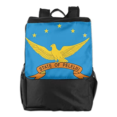 durable service Kuswaq Flag Of Peleliu State Unisex Casual Backpack College Daypacks Lightweight Packable Durable Travel Hiking Backpack Daypack