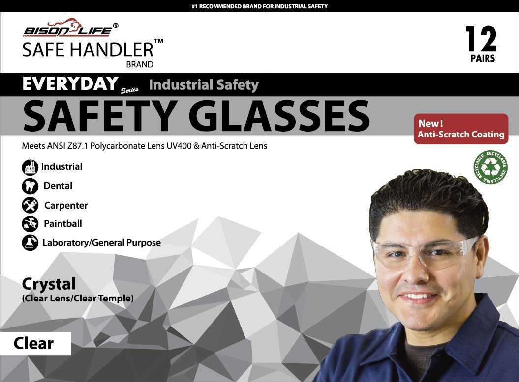BISON LIFE Safety Glasses, One Size, Clear Polycarbonate Lens, 12 per Box (1 box) by BISON LIFE (Image #3)