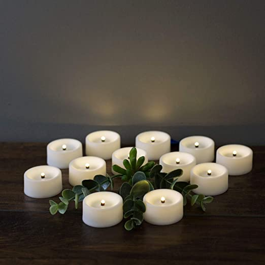 Eywamage Flameless Tealight Candles with Timer Real Wick Wax Small LED Votive Candles Battery Operated Ivory 10 Pack D 1.6 H 2
