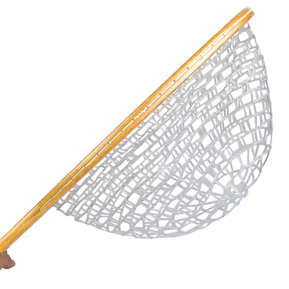 Wooden Frame with Soft Rubber Mesh Goture Fly Fishing Landing Trout Net Catch and Release Net