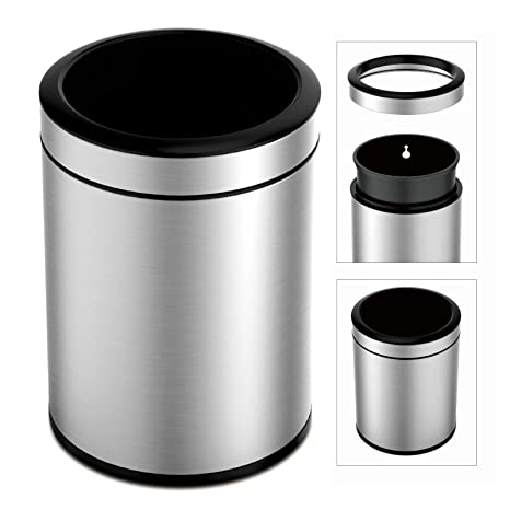 TEXAS RAGTIME Stainless Steel Trash Can for Kitchen, Bathroom, Office, 12L  3 Gallon Open Top Round Trash Cans and Bins for Home Durable, Fingerprint  ...