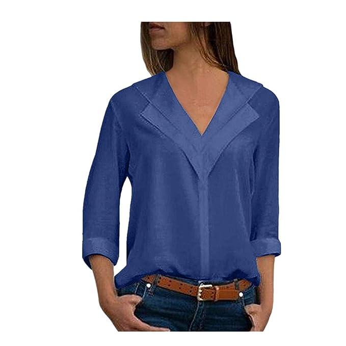 Reooly Moda Gasa de Las Mujeres de la Camiseta sólida ...