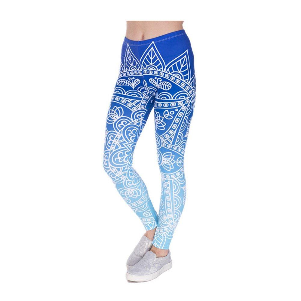Hamrank Womens High Waist Digital Printed Ankle Elastic Tights Legging