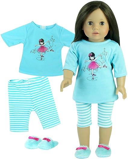 1dcabb11eb Amazon.com  18 Inch Doll Pajamas 3 Pc. Sophia s Set