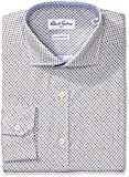 Robert Graham Men's Slim Fit Neat Print Dress Shirt, Tan, 17'' Neck 36''-37'' Sleeve