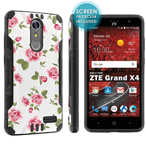 ([POPCulture] Armor Case For ZTE [Blade Spark] [ZTE Grand X 4] [Black/Black] Shock Absorbent Hybrid Case [Screen Protector]- [White Rose Garden] Print Design)