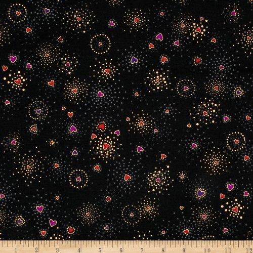 Clothworks Laurel Burch Basics Hearts Black Metallic Fabric by The Yard,